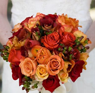 Fall Color? :  wedding fall flowers Red Orange Hypercium Bouquet