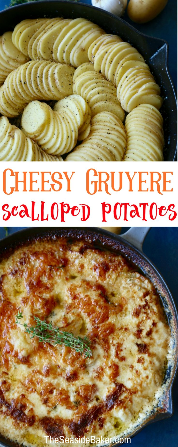 Cheesy Scalloped Potatoes made with Gruyere Cheese   Rich, buttery and delicious - the perfect side dish.   These are easy to make and would be perfect for  Thanksgiving or any holiday dinner.    #beholdpotatoes  #thanksgivingrecipes #christmasdinner #fallrecipes