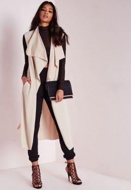 Sleeveless Belted Waterfall Duster Coat Camel