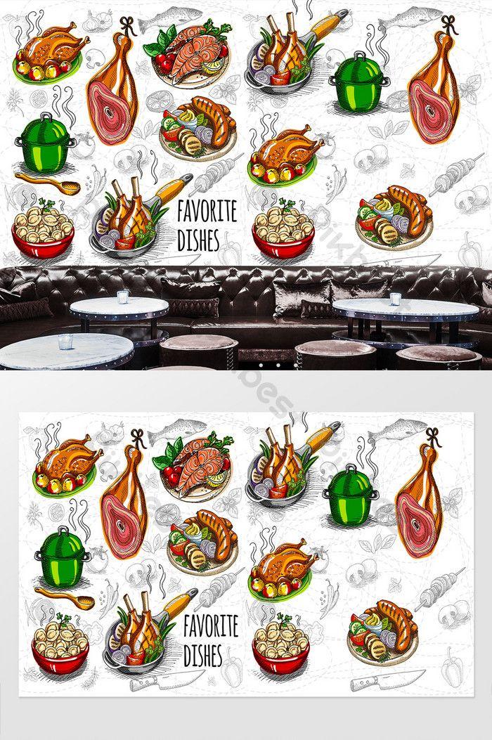 رسمت باليد الذواقة الأدوات مطعم خلفية الجدار الديكور والنموذج Ai تحميل مجاني Pikbest Food Drawing How To Draw Hands Decor
