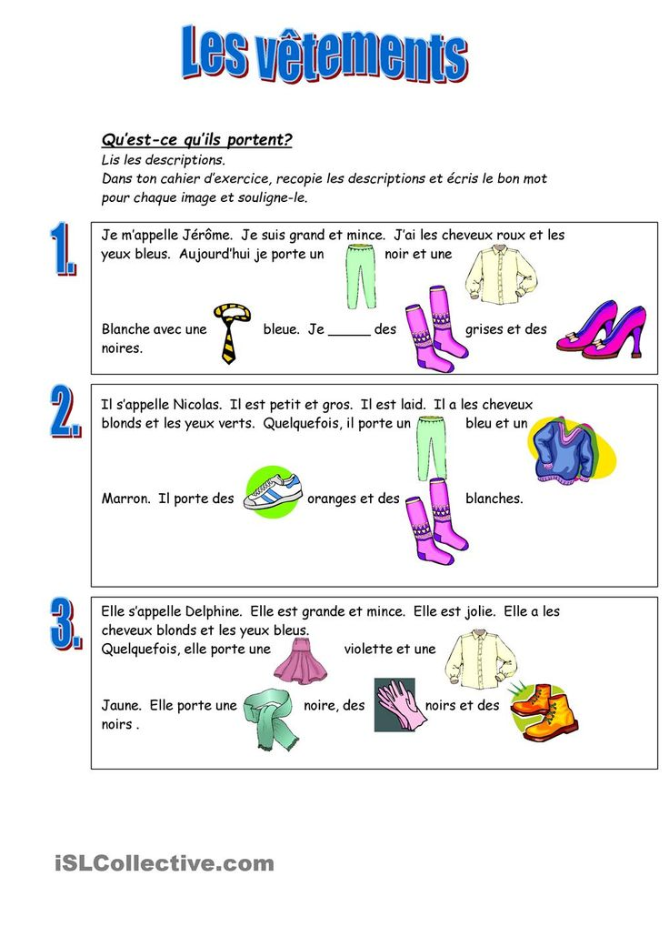 19 best worksheets les vetements images on pinterest french clothing teaching french and. Black Bedroom Furniture Sets. Home Design Ideas