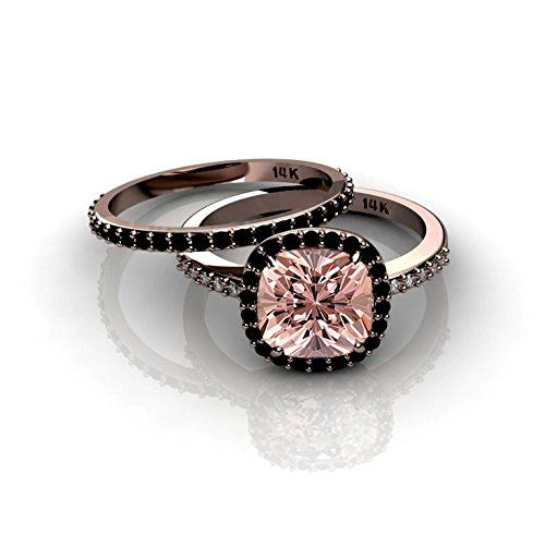 2.00 carat Morganite and Black diamond Halo Bridal Set in 10k Rose Gold