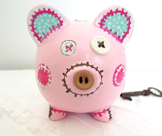 Painted Piggy Bank Personalized Bank Hand Painted por MollieBurd