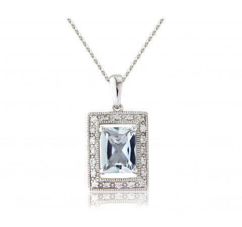 Square Aquamarine Gold Necklace