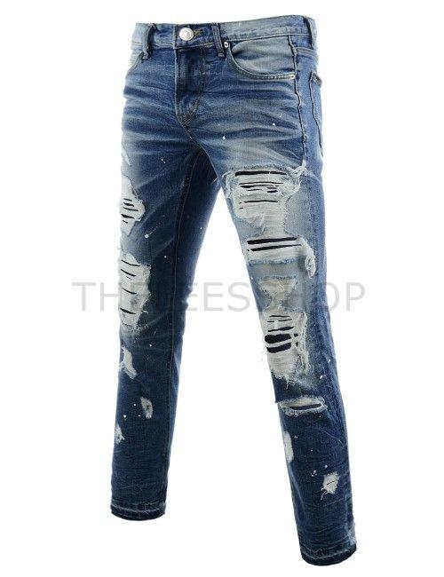 (ANTP080-BLUE) Mens Slim Fit Flat Front Destroyed Paint Patched Vintage  Washing Jeans