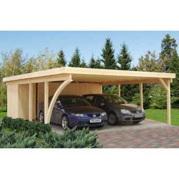 Gudrum Richard 2 Double Carport With Storage Shed / Optional Galv. Feet