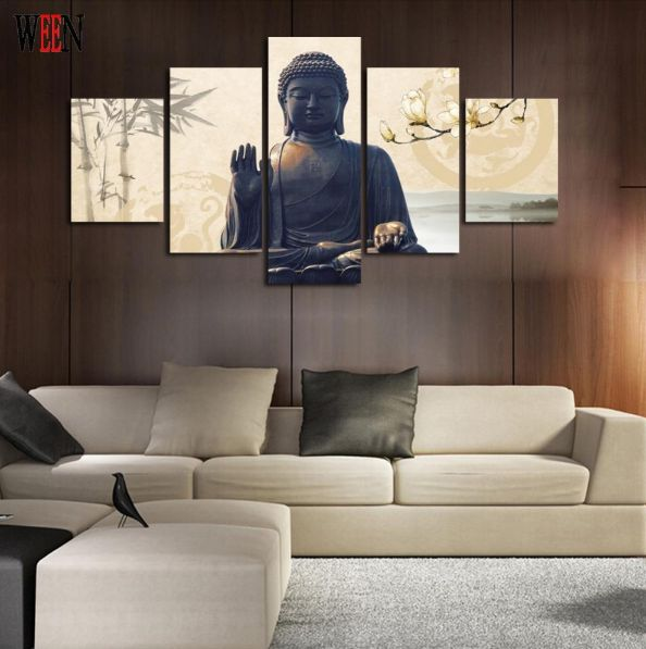 Buddha - 5 piece Canvas.   Properties: Material: 300G Cotton Polyester.   Availability: Framed (Framed comes stretched and is ready to hang on wall) or Unframed (print only, not ready to hang on wall).