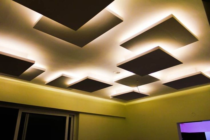 Stunning false ceiling. Diy project for my daughters room in pink and blue lights :)