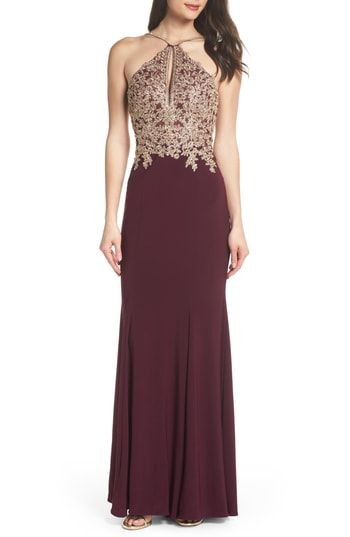 87d2dea0973b Xscape Gold Embroidery Halter Neck Gown | Most Stylish Formal ...