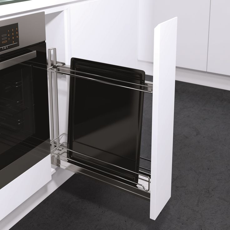 No more rattling in the cupboard for your baking tray! K150 Under Bench Baking Tray Pull Out is so versatile and ensures you can use even the narrowest of spaces; just 150mm cabinet width required! Quiet opening and closing. Also available: Tea Towel Holder set up and Standard configuration with 2 chromed shelves with chromed wire surrounds.