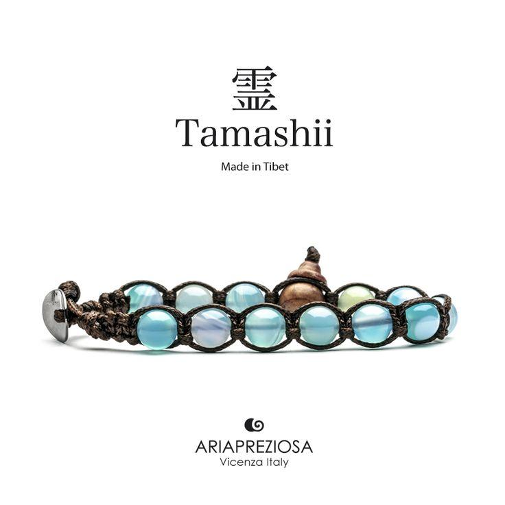 Bracciale originale tibetano Tamashii realizzato con pietre naturali AGATA STRIATA AZZURRA (SKY).
