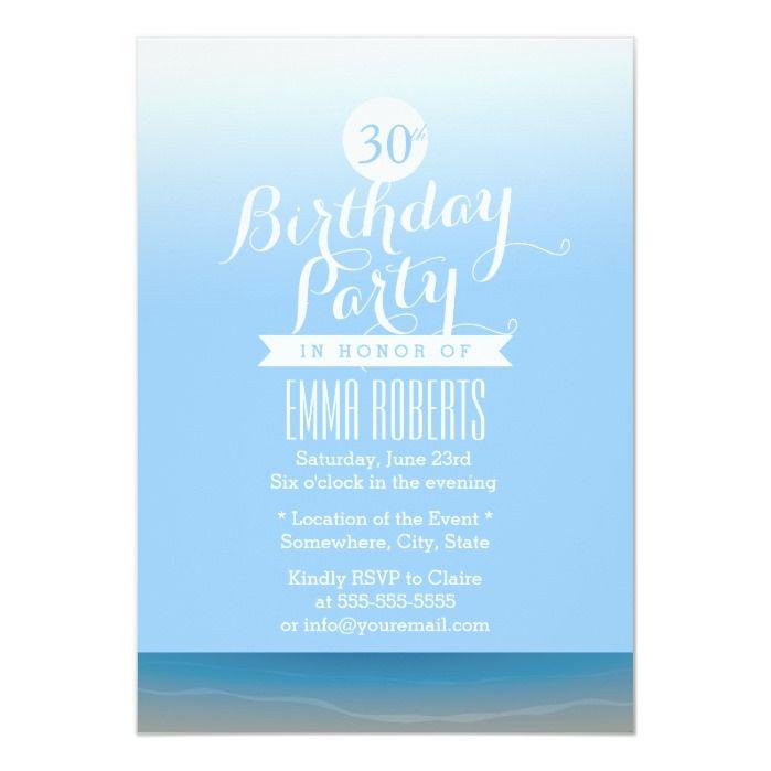 Blue Sky Beach Theme Birthday Party Invitation Birthday Party