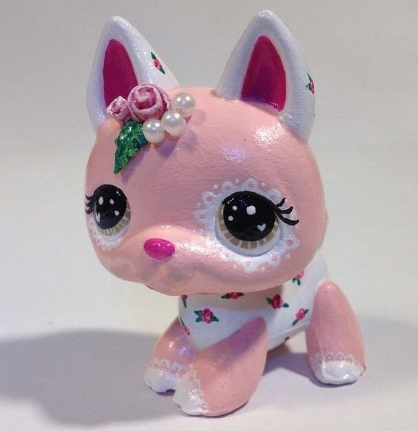 Littlest pet shop * Sweet Rose * Custom Hand Painted LPS Dog OOAK #Hasbro
