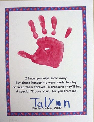Great site for creating a 12 month calendar using your child's handprint as a picture for each month.