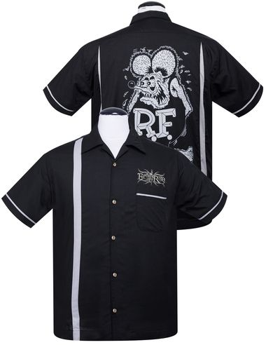 """Rat Fink is one of the several hot rod characters created by artist Ed """"Big Daddy"""" Roth, one of the originators of Kustom Kulture of automobile enthusiasts. Roth conceived Rat Fink as an anti-hero answer to Mickey Mouse.  Steady Clothing's Rat Fink Kustoms Bowler Button Up features a grey racing stripe on the right front and the embroidered phrase """"Ed 'Big Daddy' Roth"""" on the left front above the breast pocket. The sleeves feature a grey contrast stripe. On the..."""