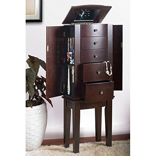 large jewelry armoire amazon contemporary style espresso chest cabinet necklace ring bracelet walmart plans