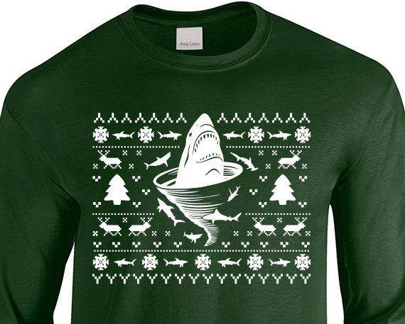 Shark Tornado Inspired Ugly Christmas Sweater Shark by JonnyTeez
