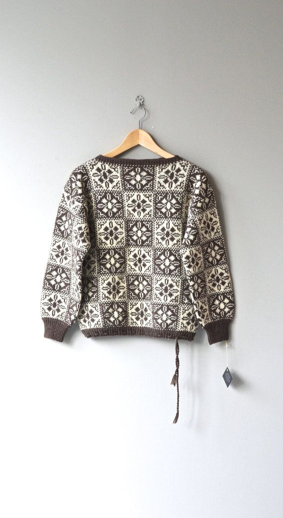 Snow Medallion sweater 1960s wool sweater by DearGolden on Etsy