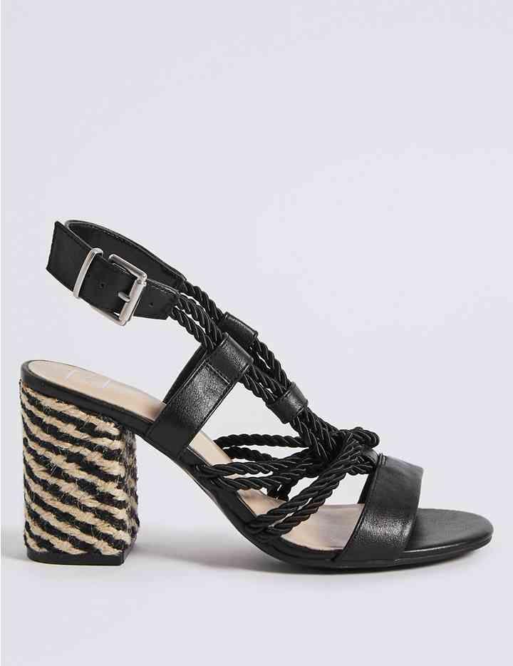 Block Heel Rope Sandals M S Collection M S Rope Sandals Block Heels Sandal Block Heels