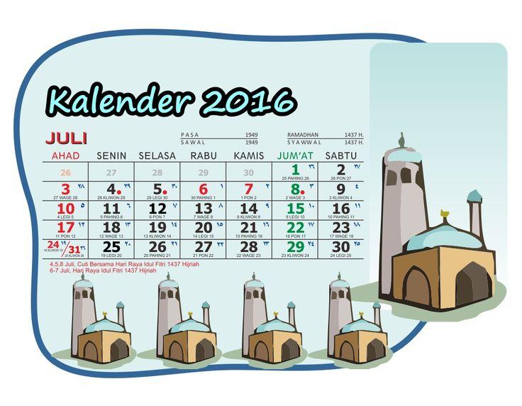 Kalender 2016 Meja Saku Masjid Kartun Lengkap - 07 Juli - Kalender 2016 Meja Saku Format Vector plus Hari Libur Nasional-Gambar Masjid Kartun Clipart