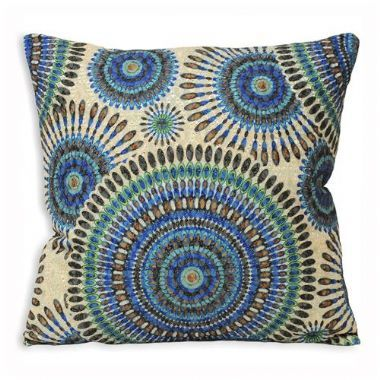 Peacock Teal Blue Geometric Cushion - £11 | brandinteriors.co.uk