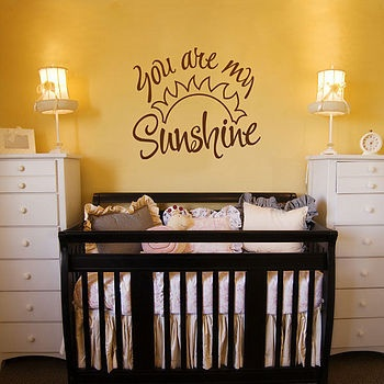You are my sunshine was my song from my mom to me. This will totally be over my baby's crib.