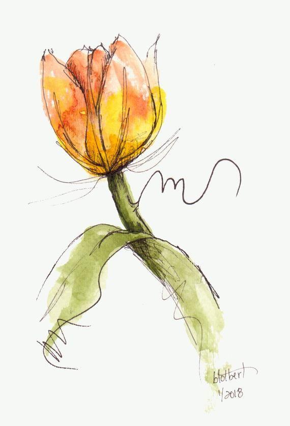 Tulip flower yellow orange original art watercolor painting pen and ink watercolor flower yellow orange tulip hand painted