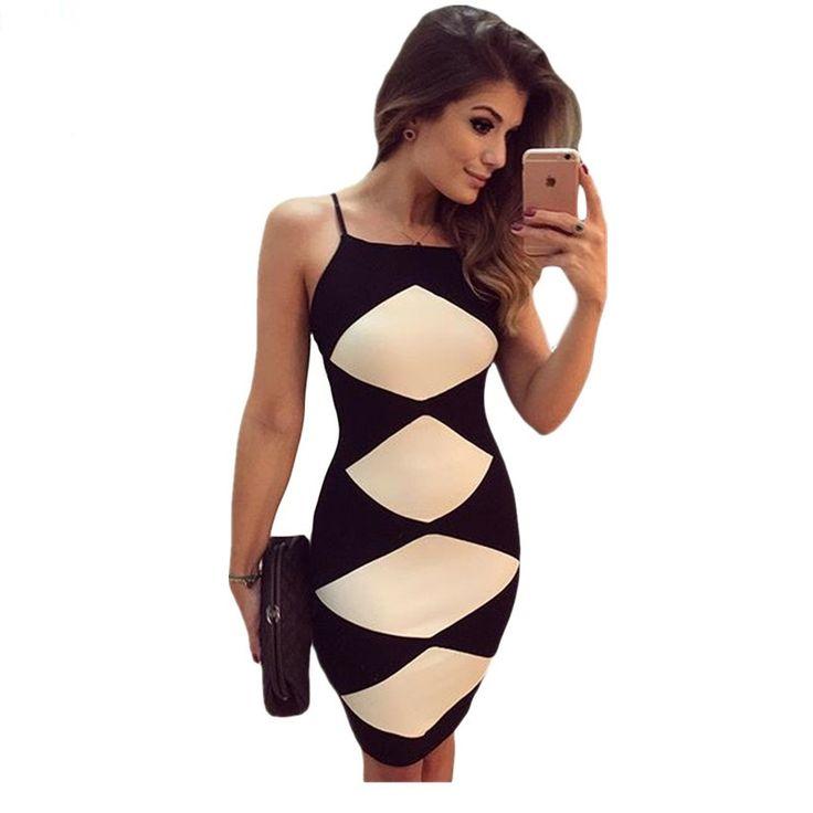 Dear Lover Spaghetti Strap Mini Dresses Women White Diamond Patchwork Black Cami Night Party Club Dress Vestido de Verao LC22782