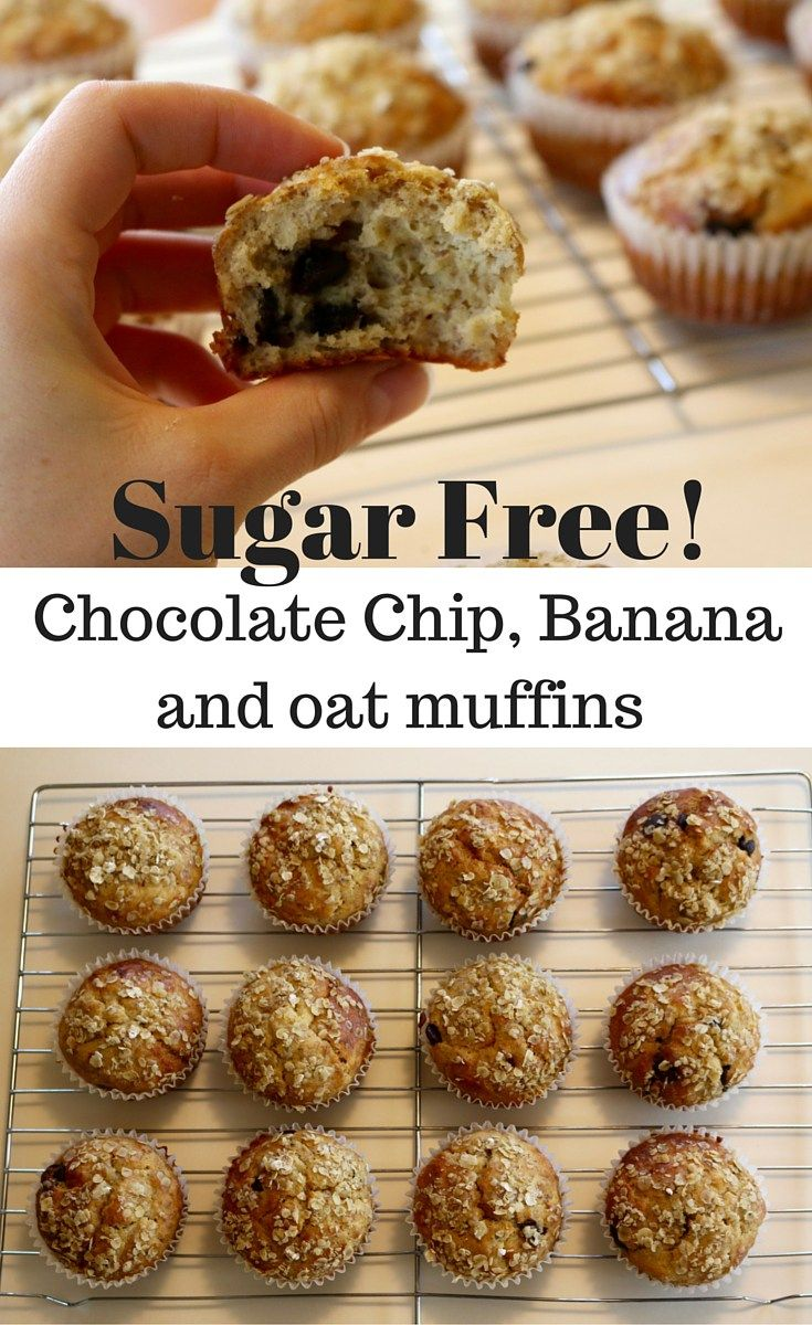 Sugar Free Chocolate Chip, Banana and oat muffins. They are extremely Yummy and super easy to make. Less than 10 ingredients and only one bowl needed