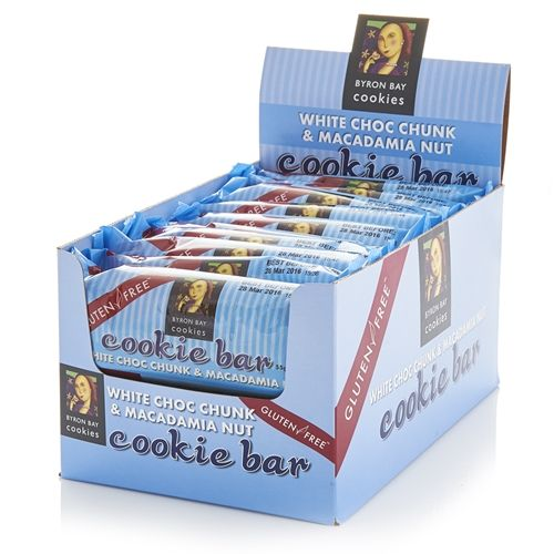 Order Wholesale Fresh Byron Bay White Choc Chunk Macadamia Cookie Bars from Good Food Warehouse