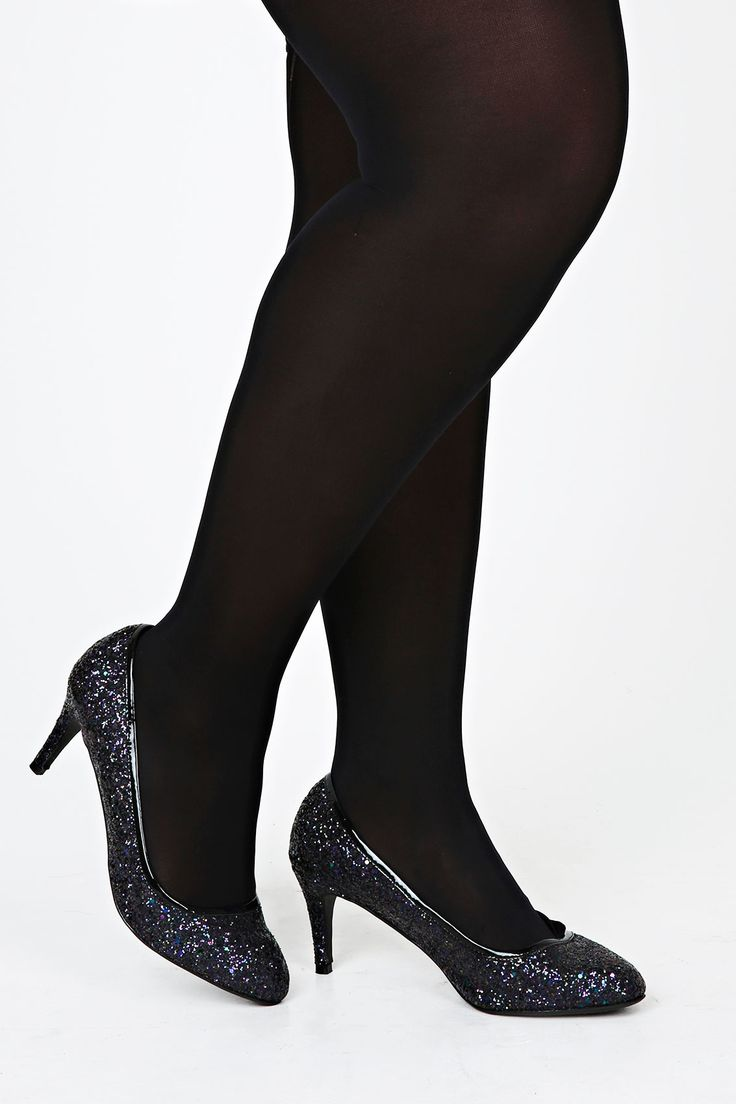 Black Glitter Heeled Court Shoe With PU Trim In EEE Fit