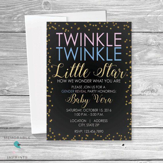 Twinkle Twinkle Little Star Gender Reveal - Gender Reveal Invitation - Gender Reveal - Invitations - Invites - Gender Party by MemorableImprints