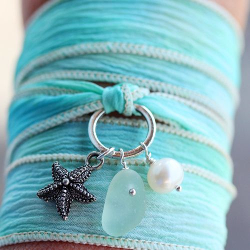 Genuine Sea Glass Silk Wrap Bracelet from A Day at the Beach Fine Sea Glass Jewelry, www.seaglassjewelrybyjane.com