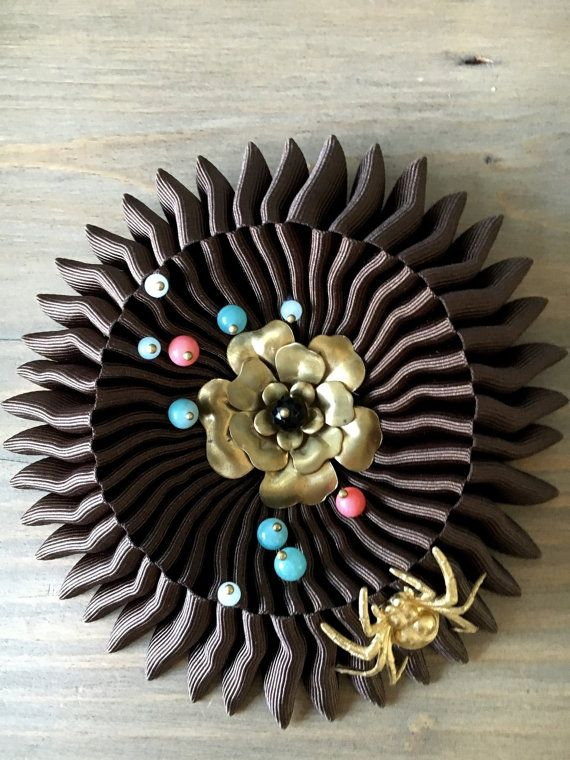 Unique Charybdis brooch  Incy wincy spider Brown  by RafaPeinador