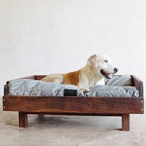 Have you seen the #midcentury dog bed video yet? Jasper's a fan.    #dogbed #midcenturymodernfurniture