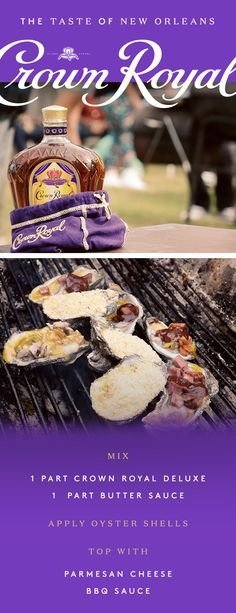 We brought the spirit of generosity down to the bayou to create your new favorite recipe. Salty oysters from New Orleans pair seamlessly with the rich and robust flavor of Crown Royal Deluxe, making this your go-to app for any backyard cookout. To make our Crown Royal Oyster Butter, mix 1 part Crown Royal Deluxe with 1 part butter sauce. Apply to oyster shells, top with parmesan cheese and barbecue sauce, and laissez les bons temps rouler!