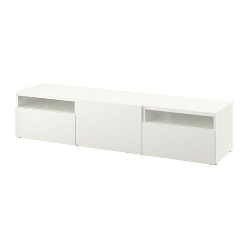 BESTÅ TV bench - Lappviken white, drawer runner, soft-closing - IKEA