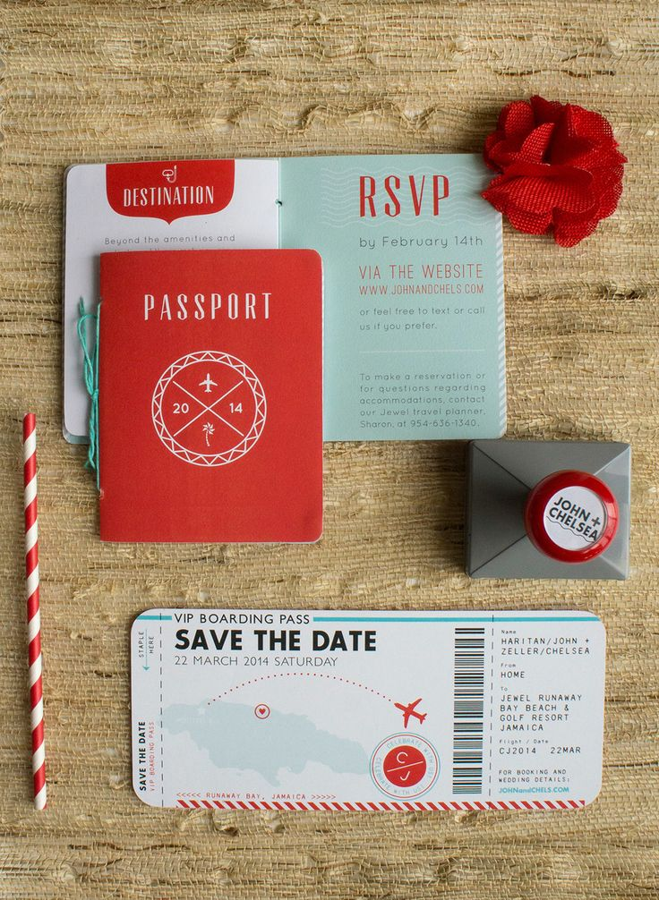 Destination Wedding Invitations featuring passport and boarding pass for Chelsea and John. By Two if by Sea Studios #Wedding #Invitations