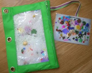 No sew I-Spy bag. You BET I'm making these for the kids. I love the idea of having a picture of the things to find so I don't have to whisper each thing to Wren in church!