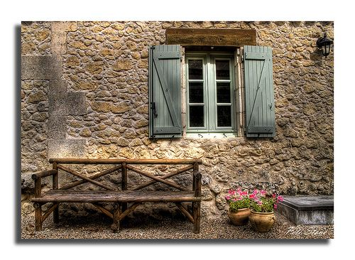 French Country Cottage: Country French, Wood Benches, Green Shutters, French Country Cottages, Window, Stones Wall, Afrench Cottages, Cottages Decor, Cottages Image