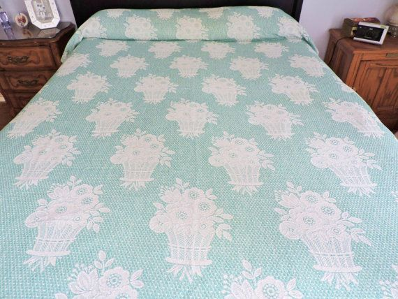 1940s Bates Monument Turquoise Bedspread  75 by SnowyCreekDesigns