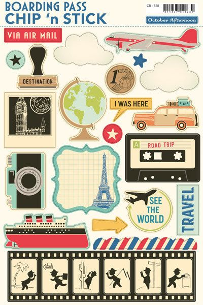 October Afternoon Boarding Pass Chip 'n Stick  by MollysScrapbooks    If I get these I will have to visit France :)