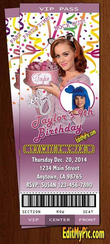 Katy Perry Custom Printable Birthday Party Invitation: Available at: http://editmypic.com/katy-perry-custom-printable-birthday-party-invitation.html