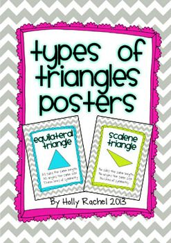 Types of Triangle Posters. Six cute classification of triangle posters for your classroom. Triangles included are equilateral, isosceles, scalene, right angles, acute and obtuse.