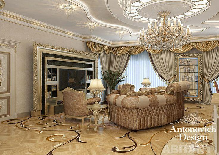 Проект - Роскошная классика от ANTONOVICH DESIGN. Архитектор / Дизайнер - Antonovich Design LIVINGROOM WITH TV STAND VISMARA DESIGN #GOLD #BAROQUE #FRAME #TVSTAND #INTERIORDESIGN