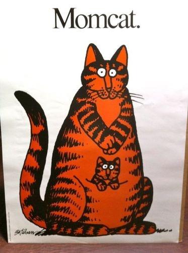 Vintage 1977 Kliban cat poster, MOMCAT,  18 x 24 Mom Cat