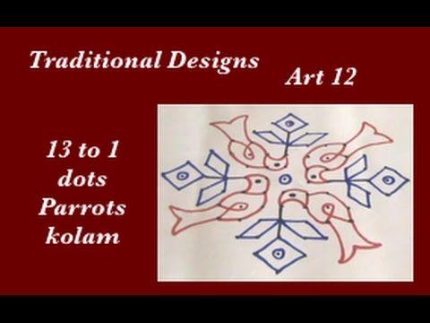 Dots Rangoli Art 12 - 13 to 1 parallel dots - muggu - parrots kolam design