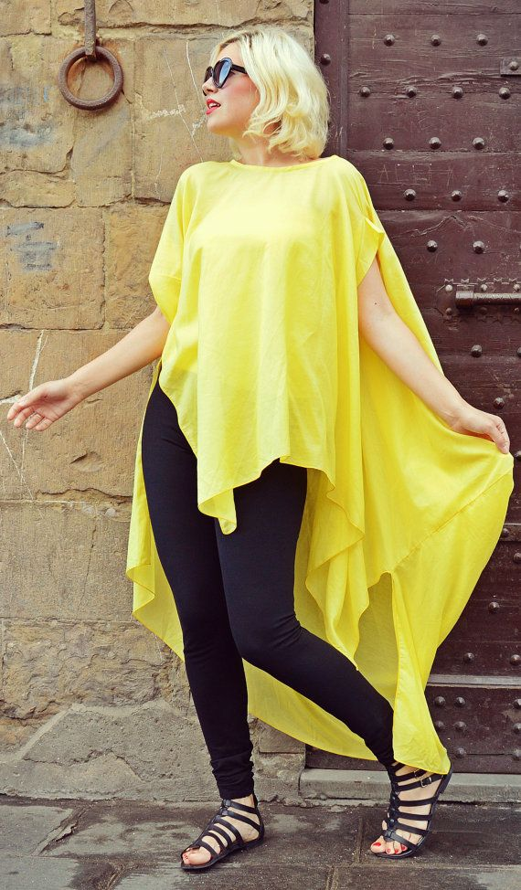 Yellow Summer Top / Funky Summer Blouse / Extravagant by Teyxo