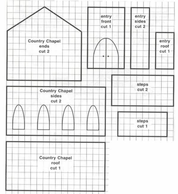 Template for making a Gingerbread House in the shape of a Chapel.