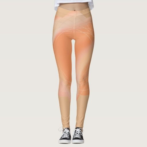 Leggings with abstract peach coloured design